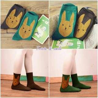 長耳小兔兔 純棉中筒襪