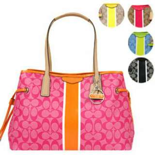 COACH PVC 菱標綁帶三層肩背包(少量橘桃)-百貨公司專櫃貨(母親節、生日禮物)