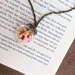 Blushing Daisies Series- Pink Flower (dome) Necklace