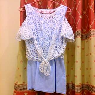 《清新春裝~☆》淺藍兩件式短洋裝