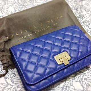 Charles & Keith two tone clutch purse with strap