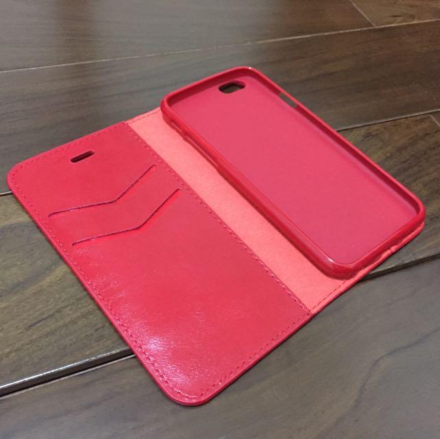 穩重瘋馬紋隱磁可立皮套(紅)