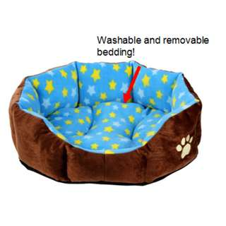 Blue with stars design - Dog/cat nest bed with removable and washable bedding -very soft and cozy!