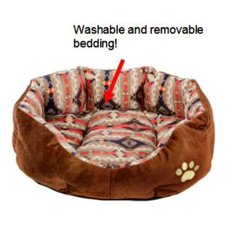 Grey strips design - Dog/cat nest bed with removable and washable bedding -very soft and cozy!