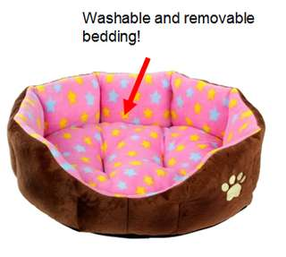 Pink with stars design - Dog/cat nest bed with removable and washable bedding -very soft and cozy!