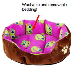 Purple frog design - Dog/cat nest bed with removable and washable bedding -very soft and cozy!