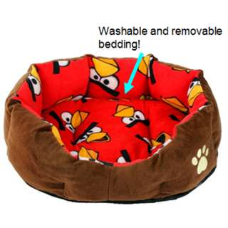 Angry Birds design - Dog/cat nest bed with removable and washable bedding -very soft and cozy!