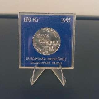RARE 1985 100 KRONER SWEDEN SILVER COIN