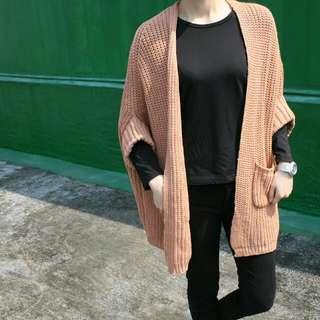 粉橘色短袖針織外套