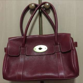 Mulberry Maroon Brown Leather Tote