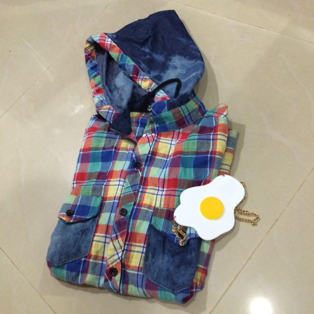 (暫售)👧短袖彩虹格子連帽襯衫