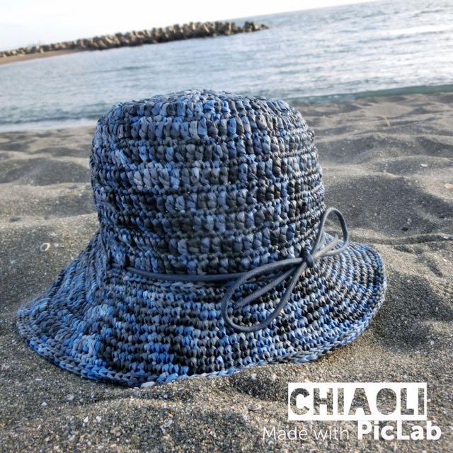 **手工編織帽**藍天帽
