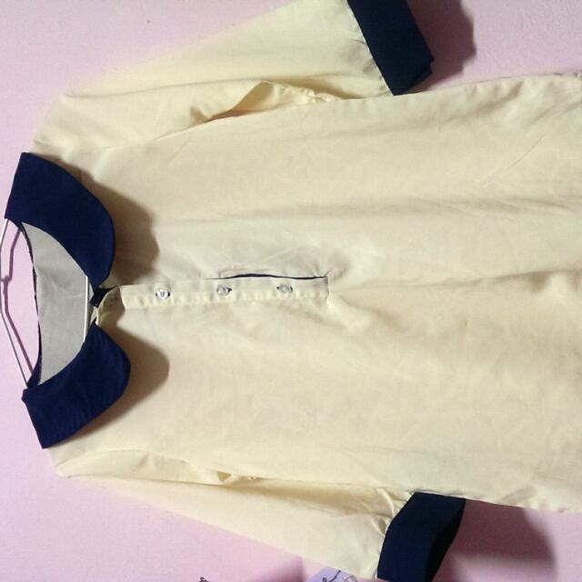 氣質雪紡藍領白襯衫