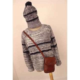 全新—條紋針織衣+帽