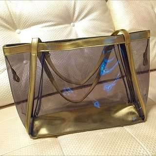 ✨全新 淡金色透明購物包✨
