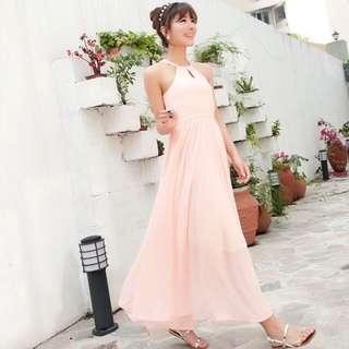 *SALE* BNWT Pastel Pink Halter Neck Maxi Dress