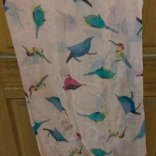 粉色小鳥絲巾