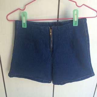 全新—拉鍊高腰短褲