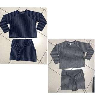全新—兩件組條紋套裝(藍、灰)