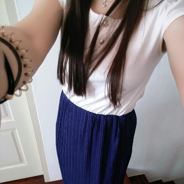 Elegant White & Royal Blue Long Dress