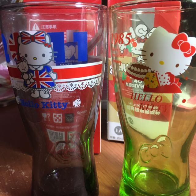 (全新)Hello kitty 40週年 經典玻璃曲線杯