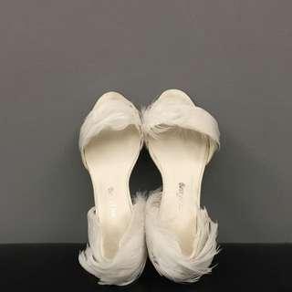 Vera Wang訂製款白羽毛低跟鞋 婚禮wedding