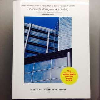 BU8101 Textbook Financial & Managerial Accounting 17th Edition