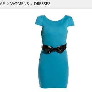 Newlook Women Blue Dress Cap Sleeve With Ruched Black Belt Brand New