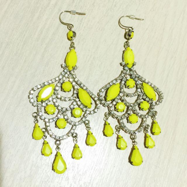 黃色水鑽長耳環
