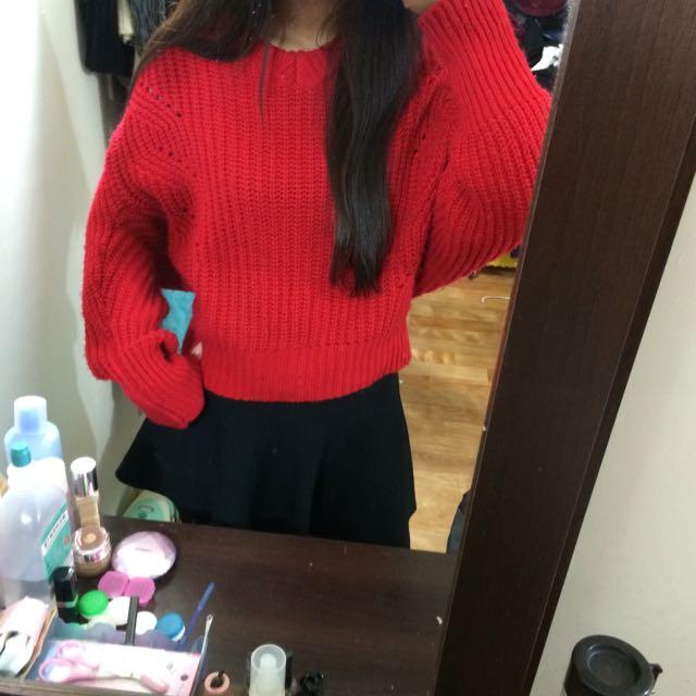 二手-超可愛大紅色短毛衣❤️
