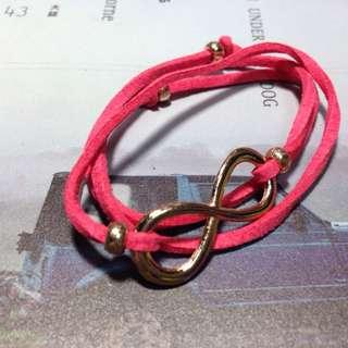 🚚 桃紅無限麂皮綁帶手鍊