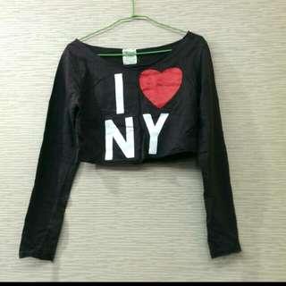 露肩露腰 長袖我愛NY上衣