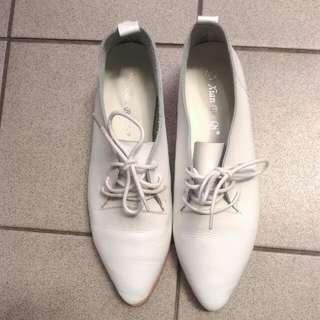 韓 白色皮質牛津鞋