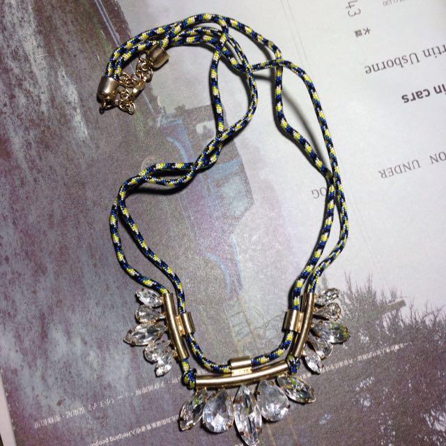 藍黃繩索水鑽項鍊