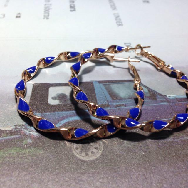 藍金扭結耳環