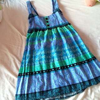 Tribal Print Blue And Green Baby Doll Dress.