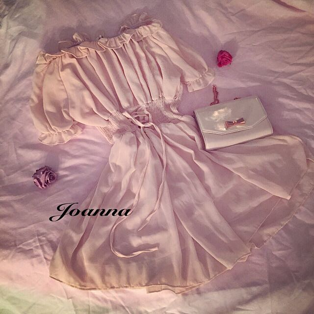 公主風ㄧ字領短洋(裸粉色)