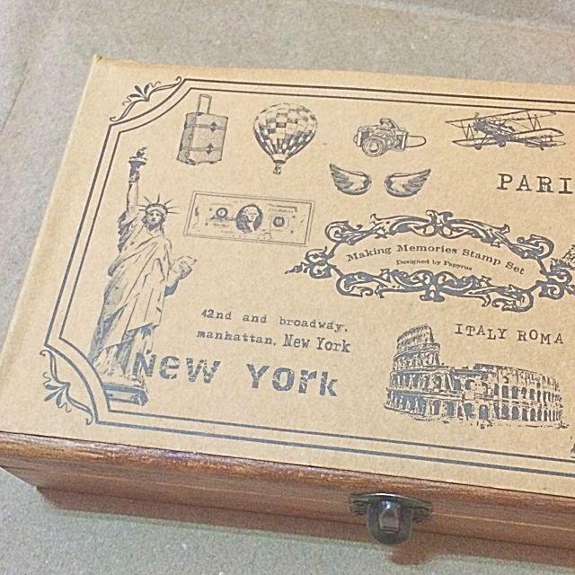 *復古旅行印章組(含木盒)。九成新