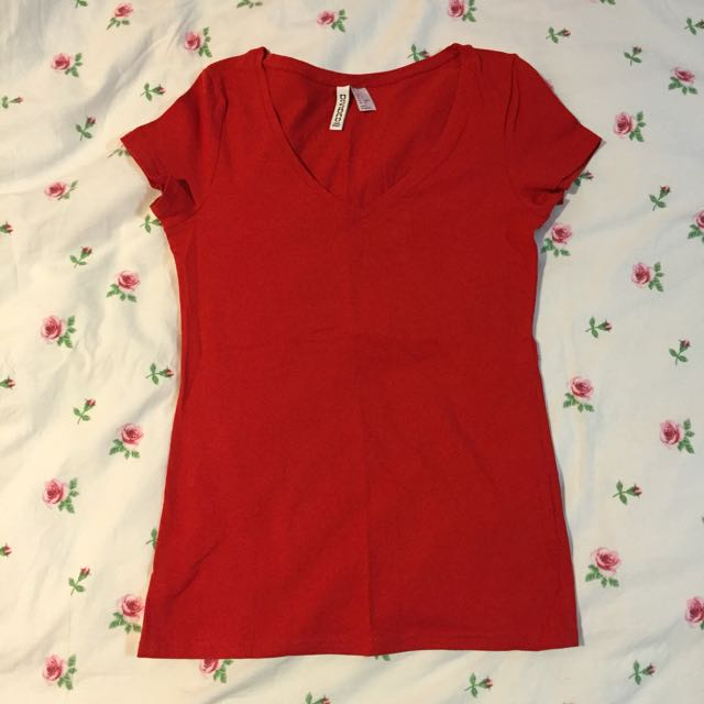 H&M Red V Cut Tee