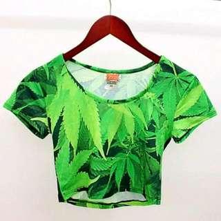 Tropical Green Crop Top