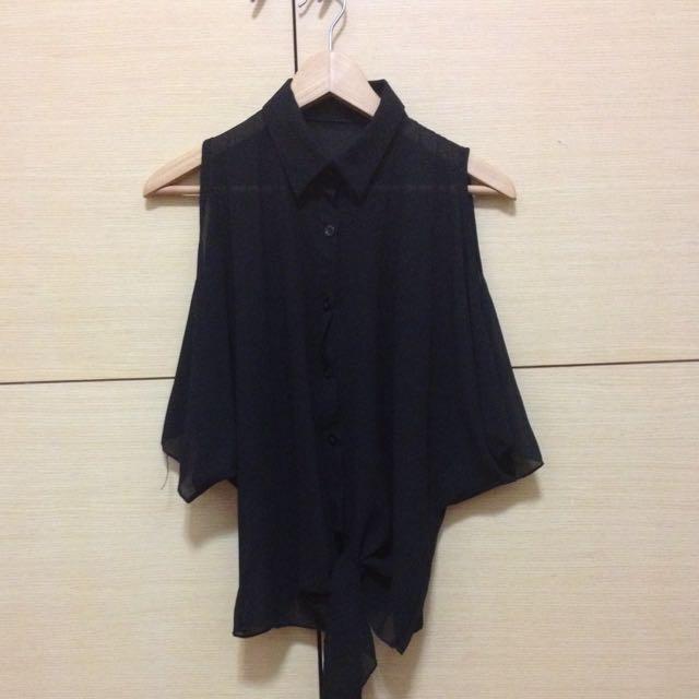 全新||挖肩雪紡襯衫/黑