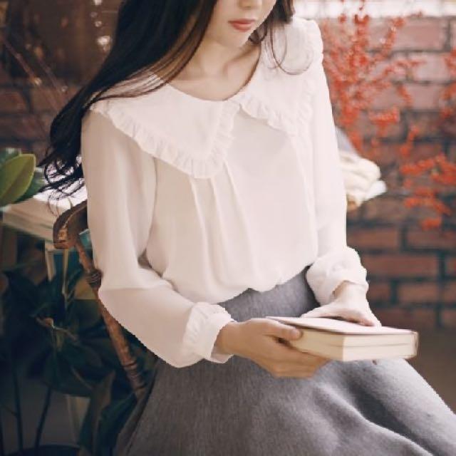 甜美娃娃領雪紡衫