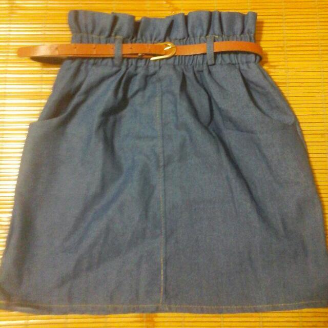 荷葉邊窄裙(付腰帶)
