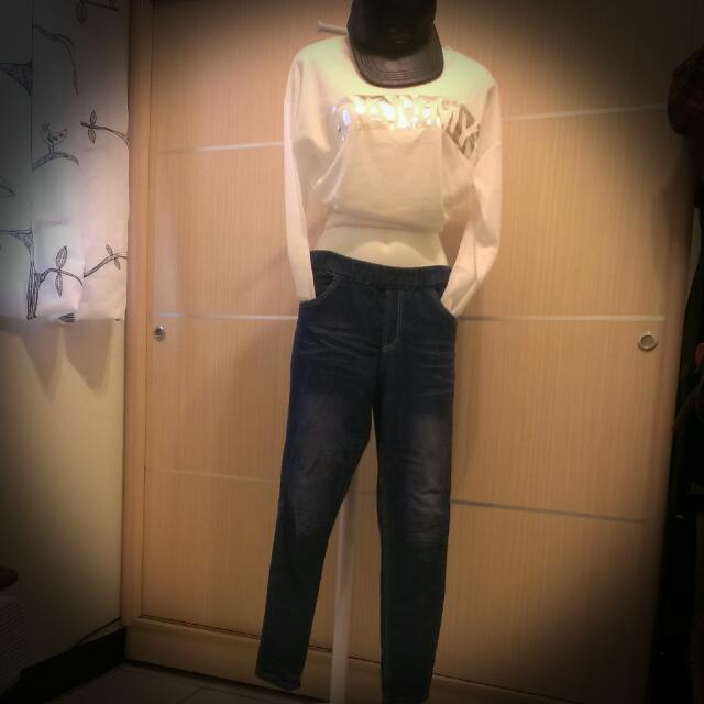 好穿鬆緊帶牛仔褲XL。顯瘦款