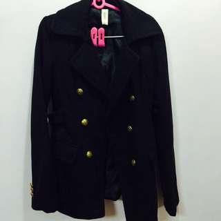 黑色毛呢長版西裝外套