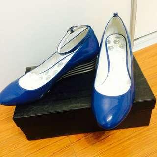 MODA寶藍色兩穿楔型包鞋