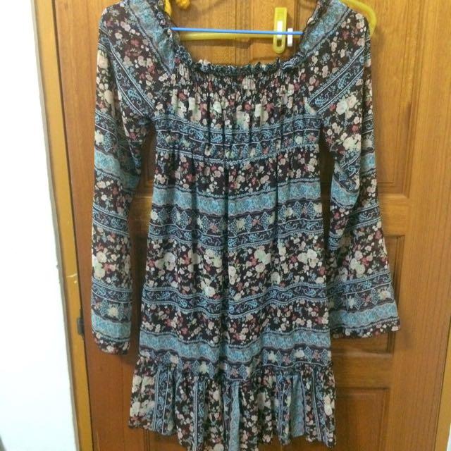 日本購入碎花雪紡洋裝