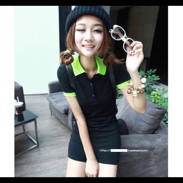 降📢📢📢綠領黑色長版ᴘᴏʟᴏ衫