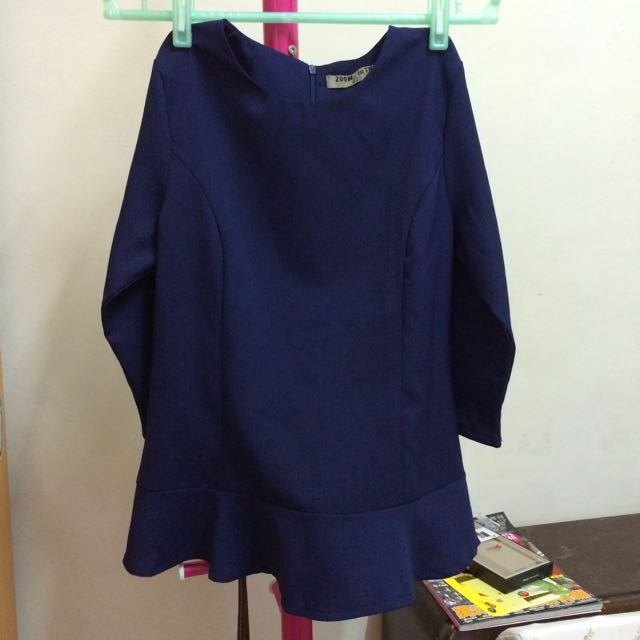 韓國荷葉七分袖藍色上衣