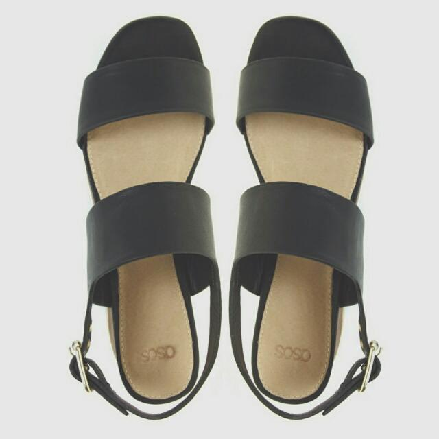 ASOS HOME ALONE 黑色真皮厚底涼鞋(9成新)